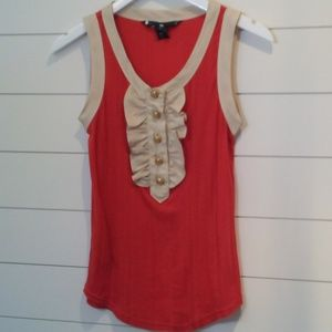 Marc by Marc Jacobs Tank with Button Ruffle Detail